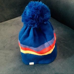 Blue Pompom Beanie with Yellow and Red Stripe